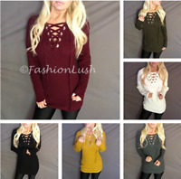 Lace Up V-Neck Bold Chunky Tie Raglan Criss Cross Caged Ribbed Knit Sweater Top