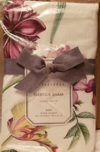 "NWT Pottery Barn Monique Lhuillier Isabella Floral Organic Euro Sham 26""x26"""