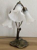 Vintage Tiffany style Tulip Lily Lamp Three Arm Trumpet Bronze