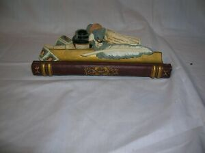 Cute Resin Pen Holder Mouse with books, faux inkwell and quill