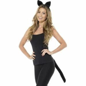 Adult Animal Cat Fancy Dress Set Ears Headband & Tail Kit Bk Smiffys Halloween