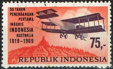 Indonesia Aviation Aicrafts History Mountains stamp 1969