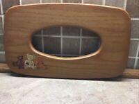 Longaberger Long Tissue Basket Wood Lid K.S. Lanam TEDDY BEARS