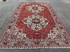 Vintage Hand Made Traditional Rug Oriental Wool Red Large Rug Carpet 311x206cm