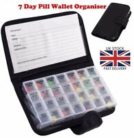 DAILY WEEKLY TABLET BOX ORGANIZER MEDICATION DISPENSER 28 COMPARTMENT AM/PM PW02