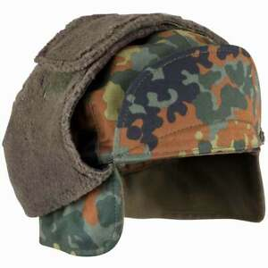 Genuine German Army Bundeswehr Warm Faux-Fur Winter Pile Hat Field Cap Ear Flaps