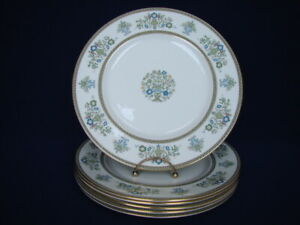 "Set of 6 Minton HENLEY 10-3/4"" Dinner Plates Green & Blue Flowers Gold Trim"