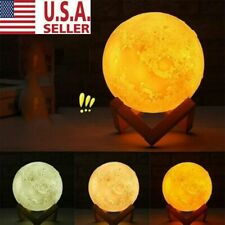 20cm 3D Printing Moon Lamp USB LED Night Light Moonlight Touch Color Changing