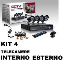 KIT VIDEOSORVEGLIANZA 4 TELECAMERE INFRAROSSI + DVR REGISTRA APP ANDROID APPLE
