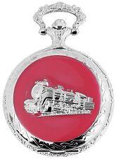 Taschenuhr Weiß Rot Silber Eisenbahn Zug Lok Metall Analog D-50742417857499