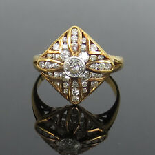 Vintage 1.25ct Diamond & 18K Yellow Gold Cross Flower Dome Ring Size 7.75