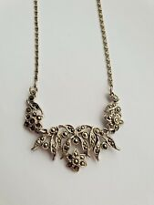Vintage silver tone snail chain link necklace with ornate marcasite design