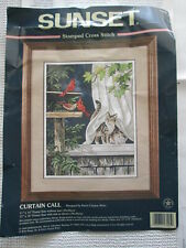 Dimensions Sunset Curtain Call Cats Birds Stamped Cross Stitch Opened 13105