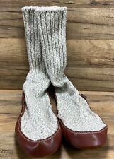 ACORN Mens Ragg Wool Leather Sole Slipper Socks Size 10.5 11 11.5 Made in Maine