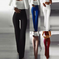 Women's Fashion Solid Elasticity Leggings High Waist Skinny Bell-bottoms Pants