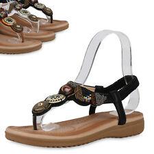 Damen Sandaletten Zehentrenner Ethno-Look Keilabsatz Schuhe 899734 Top