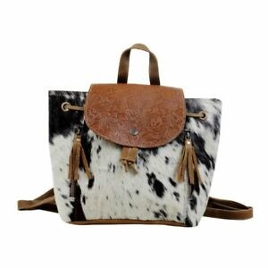 New Myra Bag Must Have Backpack Western Calf Hair Tooled Leather Fringe
