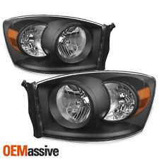 Fit 2006-2008 Dodge Ram 1500 06-09 2500 3500 Black Headlights Lights Left+Right
