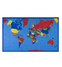 "35"" WORLD MAP GEOGRAPHY COUNTRIES SCHOOL BULLETIN BOARD 100% COTTON FABRIC PANEL"