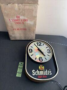 Vintage Working Retro Schmits Light Beer Electric Lighted Beer Light Clock