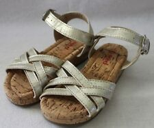 SEED HERITAGE ~ Girls Silvery Gold Strappy Sandals w Cork Low Wedge Heel 25 NWOT