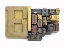 Letterpress Letter Wood Type Printers Block Lot Of 17 Typography Eb 187