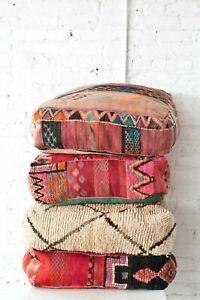Moroccan Kilim Pouf, Floor Vintage Moroccan Ottoman, Yoga Meditation Cushion