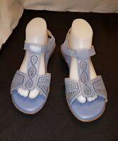 LN Women's US9M/UK7/EU39 NATURALIZER 95 CONTOUR BLUE T STRAP LOW WEDGE SANDALS