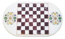 4'x2' White Marble Dining Chess Table Top Rare Marquetry Inlaid Furniture Decor