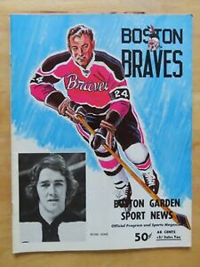 BOSTON BRAVES v HERSHEY BEARS March 28, 1972 Program TERRY O'REILLY TOM WILLIAMS