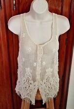 Victoria Secret Rezrekshn by Ester Chen White Lace Button Vest