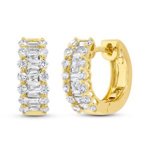 1.10ct 14k Yellow Gold Natural Diamond Baguette & Round Huggie Mini Hoop Earring