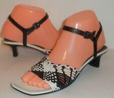 BRUNO MAGLI Black White Leather Woven Ankle Strap Sz 36 EU 6 US Italy