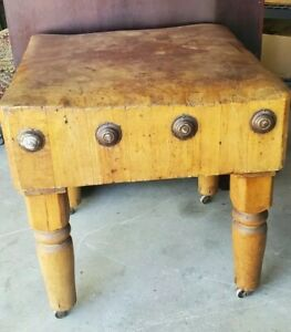 RARE Vintage/Antique Butcher Block Table, 30x30x31