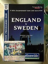 1999 ENGLAND V SWEDEN WITH TICKET STUB