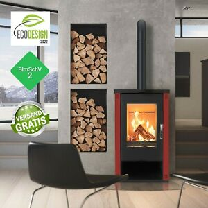 EEK A + Stove with large viewing window-Verso Theia 9.0 KW Red