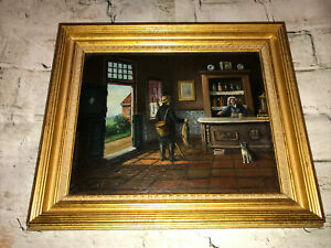 Antique Old Master Dutch Painting Pub Scene Oil on Wooden Board Signed Framed