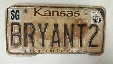 EXPIRED KANSAS Home on the Range Buffalo Sedgwick County License Plate BRYANT2
