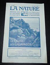 REVUE LA NATURE N°2676 1925 GALAPAGOS / NATATION / L. GENTIL / FABRICATION FAUX