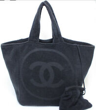 CHANEL Pile Fabric Cotton 100% Beach Shoulder Tote Bag Black #50032 from Japan