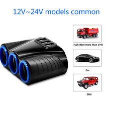 3 Way Multi Socket Car Cigarette Splitter Lighter Adapter USB Plug Charger DC12V