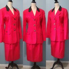 VTG Oleg Cassini Womens Red Blck Gold 2 Piece Career Blazer Jacket Skirt Suit 12