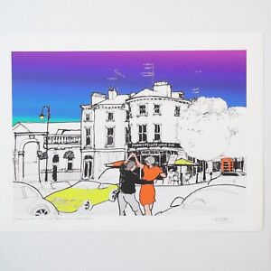 DANCING TO MONTPELLIER WINE BAR - Signed Print by KEITH BROWNING 48x35cm