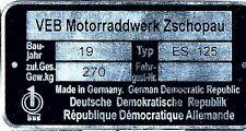 Typenschild MZ ES 125  neu blanko ES125