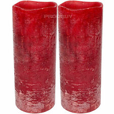 Set of 2 Red LED 19.5cm Tall Flameless Pillar Church Candles Battery Operated