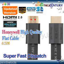*Honeywell* 3D 4Kx2K HDMI 2.0 Male to Male High Speed Ethernet Flat Cable 0.75M
