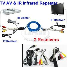 TV Extender AV Transmitter Sender 2 Receiver IR Infrared Repeater Cat5 NU201