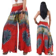 Extrem weite Hippie Batik 70er Jahre Party Hose Schlaghose Rot 36 38 40 S M