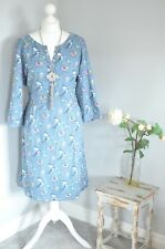 SEASALT Blue cotton blend BUNTING Bird print dress UK 18
