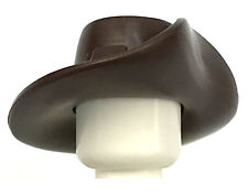 LEGO NEW DARK BROWN MINIFIGURE HAT WIDE BRIM FLIPPED UP SIDE COWBOY WESTERN PART